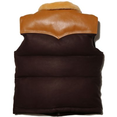 画像2: MOUTON COLLAR LEATHER DOWN VEST