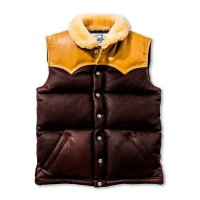 MOUTON COLLAR LEATHER DOWN VEST