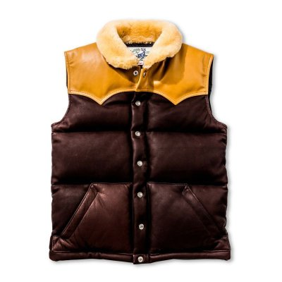 画像1: MOUTON COLLAR LEATHER DOWN VEST
